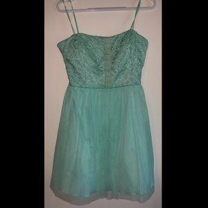 Mint Spaghetti Strap Corset Front Dress
